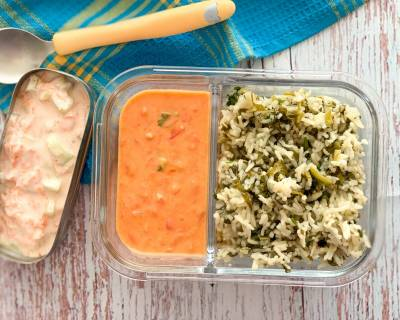 Kids Lunch Box: Sarson Saag Pulao, Tomato Sheer And Carrot Peanut Raita