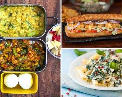Kids School Lunch Box Menu Plan-Beans Peanut Poriyal, Achari Aloo, Spinach Pasta, Paneer Tikka Sub, Tofu Fried Rice
