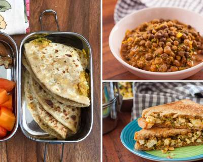 Kids School Lunch Box Menu Plan-Beetroot Rice, Mooli Paneer Paratha, Kala Chana Masala, Paneer Sandwich & More