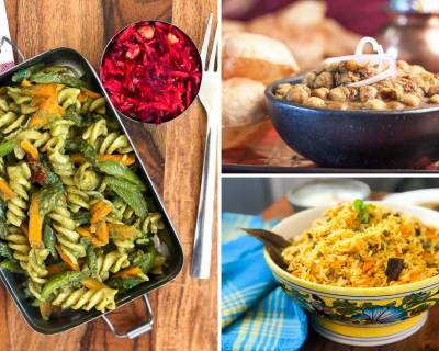 Kids School Lunch Box Menu Plan-Moong Dal Biryani, Bhindi Masala, Hummus Wrap & More