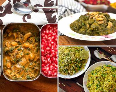 Kids School Lunch Box Menu Plan-Mushroom Chole, Matar Poha, Soya Spinach & More