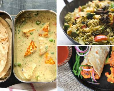 Kids School Lunch Box Menu Plan-Nawabi Paneer, Mushroom Biryani, Gobi Kathi Roll & More