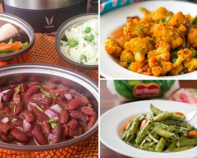 Kids School Lunch Box Menu Plan-Rajma Chawal, Aloo Gobi, Pasta & More