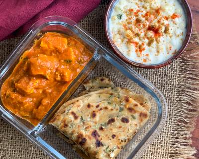 Office Lunch Box : Achari Paneer Recipe, Boondi Raita And Pudina Lehsun Lachha Paratha