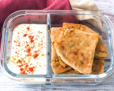 Office Lunch Box : Paneer Pyaz Paratha And Burani Raita