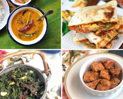 Office Lunch Box Menu Plan- Kala Desi Chana, Kashmiri Saag , Chilli Paneer Quesadilla & More