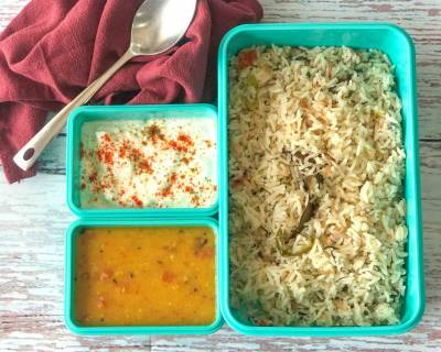 Enjoy A Simple Lunch Box Meal With Spiced Pulao, Dal Fry And Curd