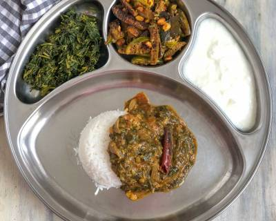 Portion Control Meal Plate - Huli Soppu Saaru ,Keerai Masiyal, Tindora Sabzi, Rice and Curd