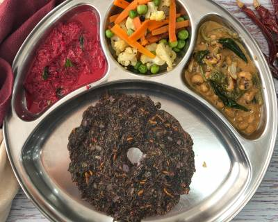 Portion Control Meal Plate : Palak Lobia Curry, Carrot Cauliflower Peas Sabzi, Beetroot Raita And Ragi Masala Roti
