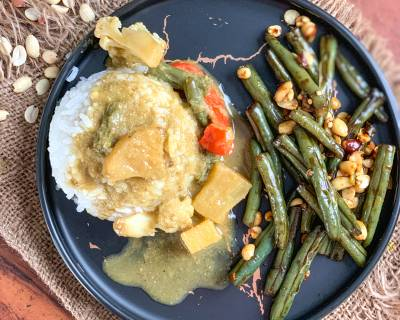 An Asian Meal Of Thai Pineapple Curry, Sticky Rice And Stir Fried Green Beans That Will Satisfy Your Taste Buds