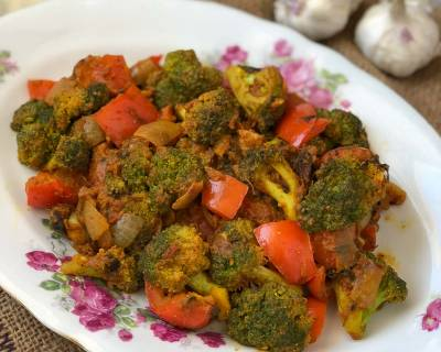 Kadai Broccoli Masala Recipe - Broccoli Cooked With Indian Spices