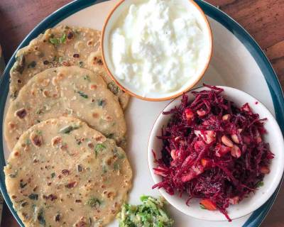 Everyday Meal Plate : Methi Thalipeeth, Green Chilli Thecha And Beetroot Salad