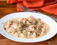 Whole Wheat Ravioli with Paneer & Creamy Mushroom Oat Sauce Recipe