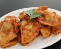 Spinach and Cottage Cheese Eggless Ravioli Recipe