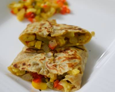 Stuffed Corn and Capsicum Paratha Recipe with Herbs