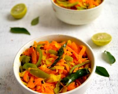 Cabbage and Carrot Sambharo Recipe - Gujarati Vegetable Stir Fry