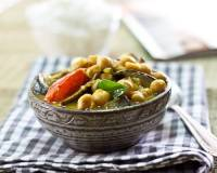 Roasted Eggplant And Chickpea Curry Flavored With Curry Leaves And Mustard Seeds