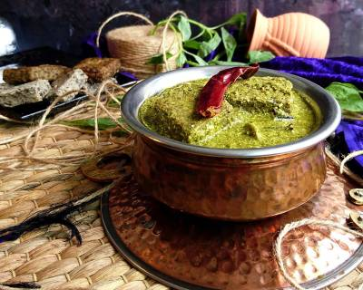 Sepu Vadi Recipe (Himachali Split Urad Dal Dumplings In Spinach Gravy)