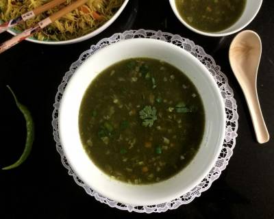 Indo Chinese Hot and Sour Spinach Soup Recipe