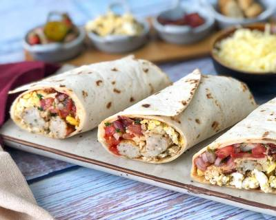 Loaded Breakfast Burrito With Crispy Bacon & Sausage