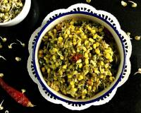 Moong Bean Sprouts Upkari Recipe - Moong Beans Stir Fry