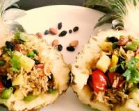 Thai Pineapple Vegetarian Fried Rice Recipe (No Onion No Garlic)