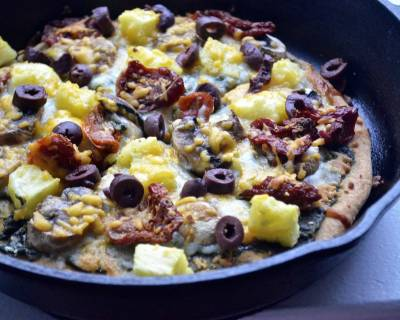 Pesto Pizza Recipe With Sun Dried Tomatoes, Mushrooms, Pineapples And Olives