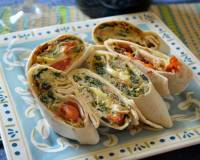 Savory Egg Wrap Recipe With Spinach, Cherry Tomato And Fresh Mozzarella
