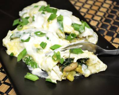 White Beans And Spinach Enchiladas Recipe With Spicy Jalapeno Sauce