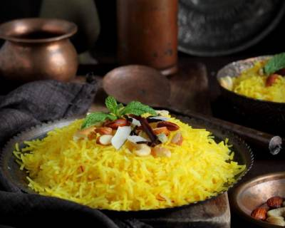 Zarda Pulav Recipe (Rice Flavoured With Nuts And Saffron)
