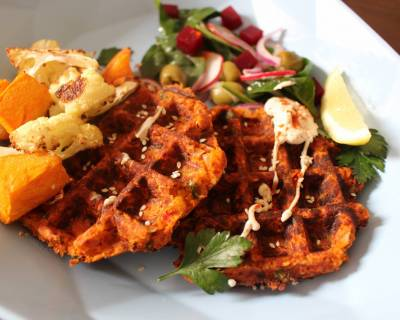 Waffled Falafels and Vegetables Recipe