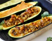Zucchini Boats With Chickpeas In Tomato Hummus Recipe