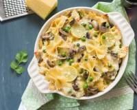 Baked Farfalle Pasta With Mushrooms Peas And Lemon White Sauce Recipe