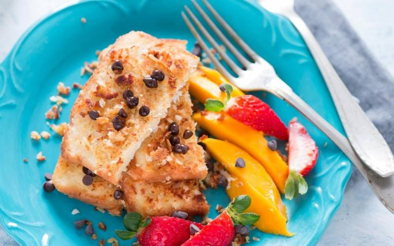 Coconut French Toast with Chocolate Chips Recipe