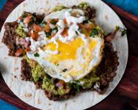 Mexican Breakfast Tortilla, Fried Eggs & Black Beans With Salsa Recipe