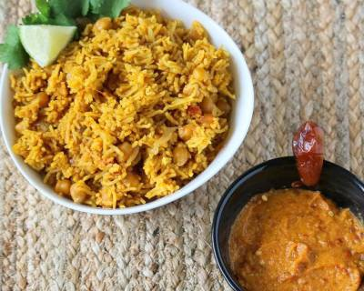 Pakistani Chickpeas Pulao Recipe With Sweet Hot Date Onion Chutney
