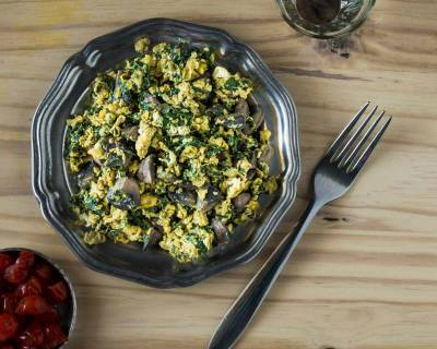 Spinach Mushroom Scrambled Eggs Recipe