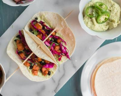 Sweet Potato Tacos With Black Beans And Avocado Cream Recipe