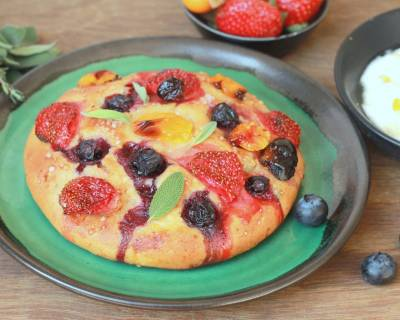 Berry Focaccia with Mascarpone Cheese Recipe(Italian bread topped with mixed berries and served with Sweetened Mascarpone Cheese)