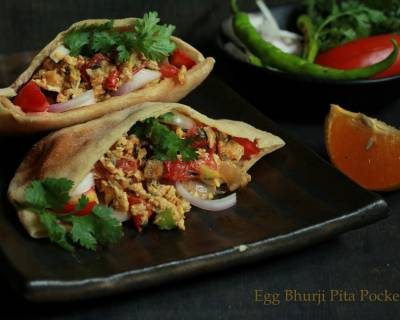 Egg Bhurji Stuffed Pita Pockets Recipe