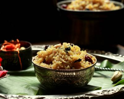 Maharashtrian Narali Bhaat Recipe (Sweetened Coconut Rice)