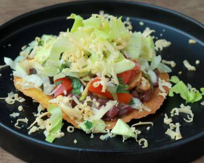Refried Beans and Mushroom Tostada Recipe