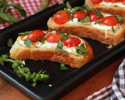 Roasted Tomato And Basil Bruschetta Recipe