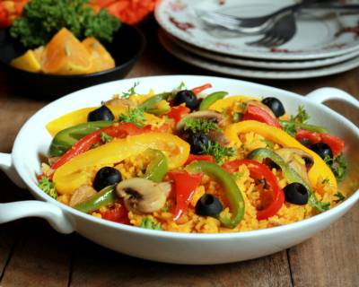 Vegetable Paella Recipe (Spanish Style Vegetable Rice)
