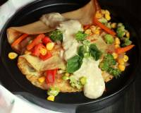 Whole Wheat Crepes With Roasted Vegetables And White Sauce Recipe