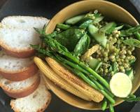 Baby Corn, Cucumber And Sprouts Salad With Lemon Basil Dressing
