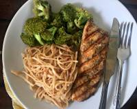 Broccoli Chilli Noodles With Grilled Salmon Recipe