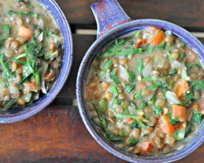 One Pot Creamy Spinach Lentils Recipe