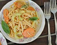 Sesame Noodle Salad with Raw Carrots, Cucumbers & Spicy Peanut Dressing