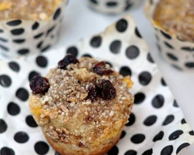 Whole Wheat Lemon & Cranberry Muffins Recipe